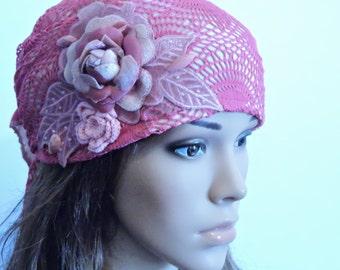 Pink Hair Snood , Head Scarf , Tichel , Chemo Hat , Head Wrap , Hair Covering , Chemo Headwear , Pre-Tied Bandana , Mitpachat