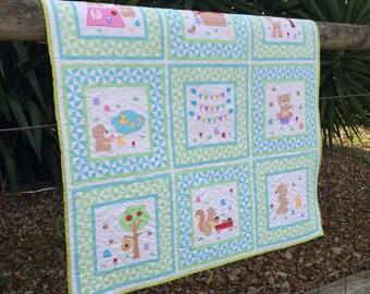 Cot, Pram or Tummy Time Quilt Blanket