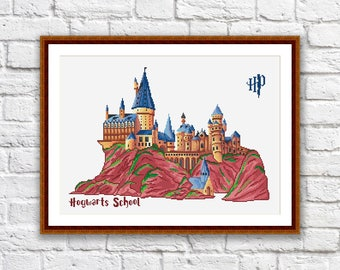 Hogwarts School Cross Stitch Pattern, Hogwarts School Pattern, Harry Potter Pattern, Modern Cross Stitch Pattern, Doanload PDF #hp007