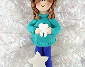 Dental Hygienist Gift - Dental Hygienist Christmas Ornament - Dental Assistant Ornament - Dentist Gift - Clay Christmas Ornament -11306