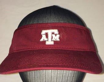 Vintage Texas A&M University Sun Visor NCAA College Adjustable Hat Gig em Aggies Maroon White Visors Baseball Caps T17 S7001