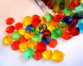 Multi colored CANDY PARTY THEME, Candy Gems,4 Colors, Cake Decorations, Hard Candy, Cupcake Toppers