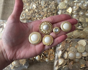 100 mixed gold color plastic buttons