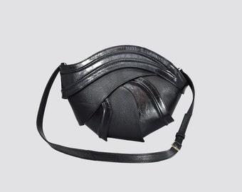 Geometric leather bag , futuristic bag , unique bag , luxury bag , unique purse , designer bag , design , futuristic  , black  bag