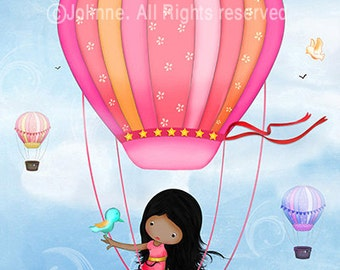 African American girl wall art, kids room art, hot air balloon artwork,children's playroom decoration,posters for baby room,personalized art