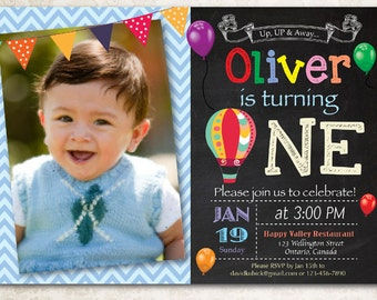 Hot Air Balloon Birthday Invitation. Up Up and Away Birthday Party Invite. Chalkboard with photo. Girl, Boy Birthday. Printable Digital DIY