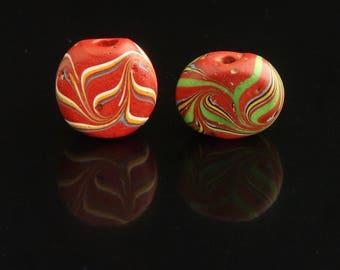V165-  Two antique Venetian tabular red beads