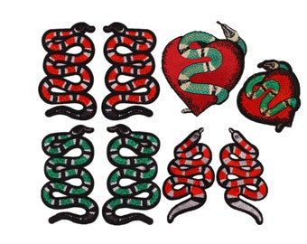 iron on embroidery patches,snakes badges,hearts snakes appliques,embroidered coral snakes patches for jackets denim jeans