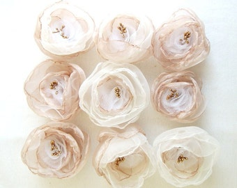 Bridesmaid Hair Accessories Hair Clips Set of 9 Champagne Gold Ivory White Organza Flowers Weddings Fairytale Flower Hair Accessories