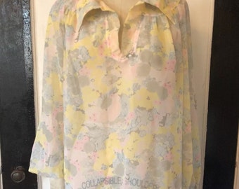 Vintage 70s sheer mini tunic dress floral pastel boho kaftan tie long sleeve hippie sz s / xs