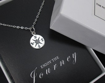 Enjoy The Journey Necklace Sterling Silver Compass Necklace Graduation Gift, Retirement Gift, New Direction, New Beginnings Necklace