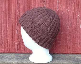 Brown wool watch cap, wool hat mens, hand knit warm winter beanie mens, wool winter cap mens wool skull cap, gift for him, /ready