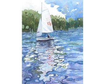 Sailboat Watercolor Print from an Original Watercolor Painting by Laura Poss, Three sizes available, Sailboat Reflections, Seascape Art