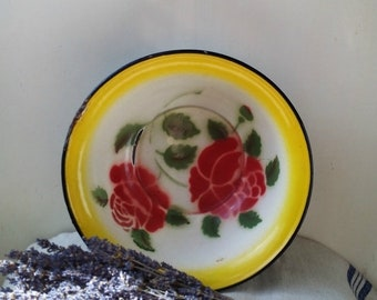 20%Off Kitchenalia - vintage yellow enamel plate with red flowers - enamelware cottage chic