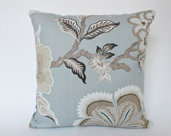 Schumacher Hothouse Flower Pillow Cover in Mineral Blue