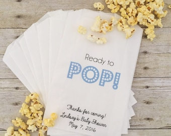 Baby Shower Favor, Baby Shower Treat Bags, Favor Bags, Ready to Pop, Popcorn Bags, Gift Bags, Candy Buffet Bags, Baby Shower Favor Bags