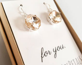 Champagne Crystal Earrings - Champagne Swarovski Earrings -Champagne Wedding-Champagne Bridesmaid -Bridesmaid Earrings -Silver Drop Earrings