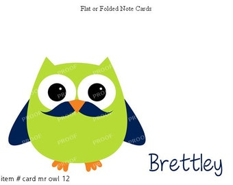 Green Owl Mustache Note Cards Set of 10 personalized flat or folded cards