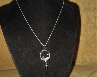 Sterling Cat & Mouse Pendant Necklace with Onyx Vintage