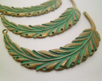 5pcs Large Leaf Turquoise Verdigris Patina Pendants Connectors With 7 Holes Boho Gypsy 0202-0202