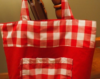 Red and White Checkered Tote Bag