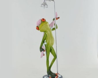 """GORGEOUS """"Its a Frogs Life"""" Showering FROG Ornament Figure New & Boxed"""