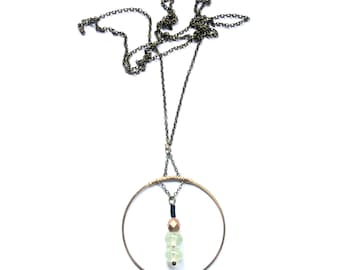 BONDI Necklace | Brass Circle with Prehnite and Glass Beads