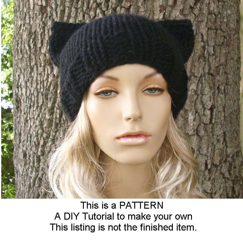 Instant Download Knitting Pattern Knit Hat Pattern Cat Hat
