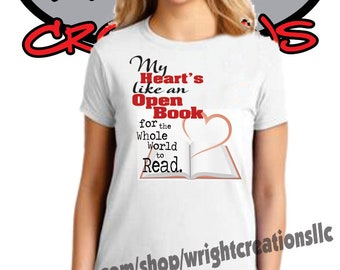 My Heart's Like An open Book Original T-Shirt Design