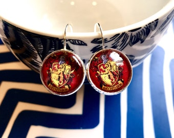 Gryffindor Harry Potter glass cabochon earrings- 16mm