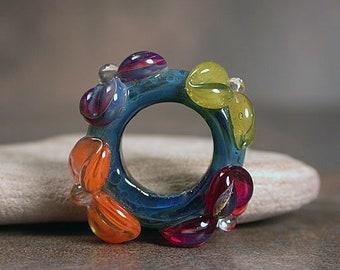 Big Hole Bead, Lampwork Slider Focal Bead, Boro Lampwork Glass, Boro Floral Bead, Hawaiian Lei Series, Divine Spark Designs, SRA