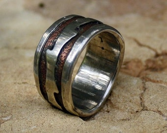 A Rustic Mans Wedding Band Mans Wedding Ring Organic  Mans Wedding  Band Copper Recycled Silver Jewelry Metalwork Ring