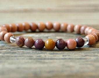 Rosewood, Mookaite Jasper, Heart, Solar Plexus, Base, Chakra Bracelet, Crystal Healing, Yoga Bracelet, Meditation Bracelet, Protection