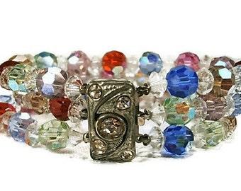 Multi Color AB Kristall drei Strang Vintge Armband, Silber und Strass Spange