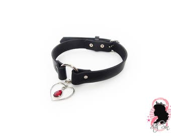 Black O Ring and Red Amethyst Heart Choker, Ruby Heart Choker, Black O Ring Collar, Red Amethyst Choker, Red Heart Jewel Choker, BDSM Collar