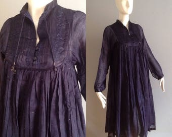 Vintage NOS 70s Ethnic Indian Dress ~ Sheer Cotton Blue Gauze Maxi ~ Sequin Satin Bib Festival Caftan ~ Bohemian India  Tunic