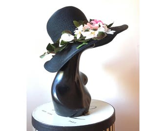60s black wide brim hat with flowers