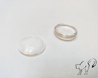 Cabochon glass round 22 x 22 mm set of 2