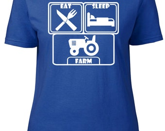 Eat. Sleep. Farm. Ladies semi-fitted t-shirt.