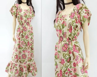 1970s Maxi Dress Floral Maxi Dress 70s Peasant Dress Boho Maxi Dress White Floral Dress Vintage Maxi Dress 70s Boho Dress Summer Dress s