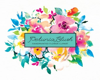 Flower Clipart - Hand-painted Watercolor: Petunia Blush, perfect for wedding invitations, greetings cards, print and more.