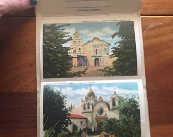 1930s California Missions vintage Postcards Souvenir Folder 18 color views unposted fold-out
