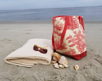 Red and cream toile and floral beach tote