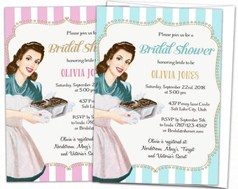 retro bridal shower invitation vintage bridal shower invitation retro housewife bridal shower 1950s