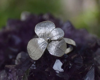 Sweet blossom ring,sterling silver flower ring
