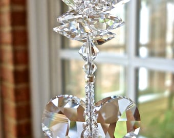 """Swarovski Crystal Heart Suncatcher Topped with Medley of Octagons, Window Ornament, Window Decoration, Prism, Hanging Heart - """"THERESA"""""""