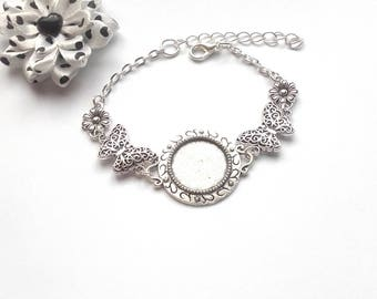 x bracelet silver cabochon 18 mm, stylized butterfly and flower holder
