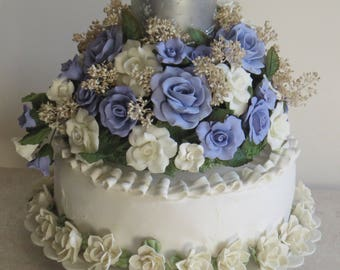 Wedding Cake Topper,Floral,Cold Porcelain,Handmade Flowers,Blue and White,Unique,Home Decor