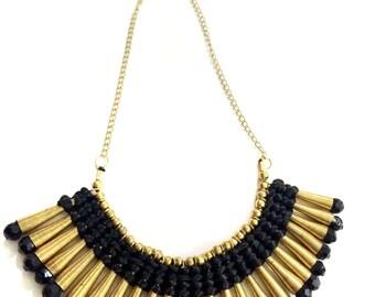 Black gold Bib Necklace,Statement Jewelry Etsy, Victorian Art deco jewelry,Royal ethnic Jewelry by Taneesi