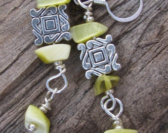 Earrings Lime and silver ON SALE